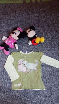 langarm T-Shirt Gr. 110, olivgrünes langarm T-Shirt mit Katzen