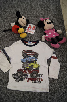 T-Shirt Gr. 104, weisses T-Shirt mit Autos drauf