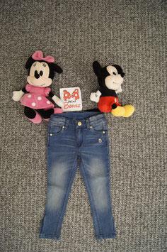 Jeans Gr. 98, Jeans mit Goldiger Eule und Reissverschlüsse unten