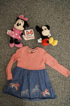 Kleid Gr. 110, Jeans Röckli mit integriertem rosa  Pullover
