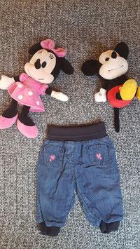 Jeans, Gr. 68, gefütterte Jeans mit Herzchen