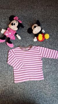 langarm T-Shirt Gr. 92, pink-rosa-braun gestreiftes langarm T-Shirt, 2 Schulterdruckknöpfe