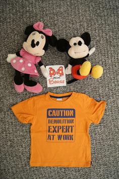 """T-Shirt Gr. 80, oranges T-Shirt """" Caution..."""", 2 Schulterdruckknöpfe"""