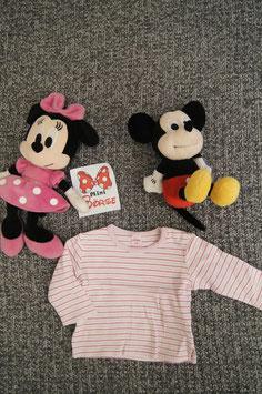 langarm T-Shirt Gr. 68, weiss-rosa-pink gestreiftes T-Shirt, 2 Schulterdruckknöpfe