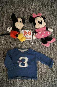 "langarm T-Shirt Gr 68/74, blaues Shirt ""3"" Mangel ,  Schulterdruckknopf fehlt"