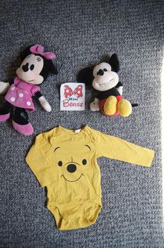 Body Gr. 68, gelber Body mit winii Pooh Gesicht, 2 Schulterdruckknöpfe und 3 unten
