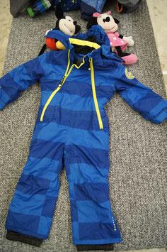 Schneeanzug Gr. 86, Blau gestreifter Schneeanzug mit gelben Reissverschlüssen