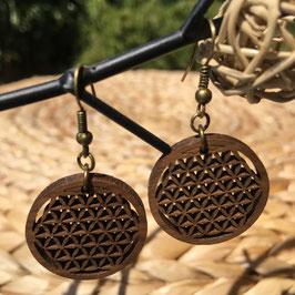 Boucle d'oreilles Fleur de Vie en bois de Noyer - moyenne