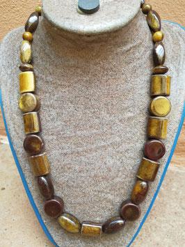 Halskette Keramik * Mustermix braun