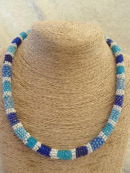 Rocailles-Afrika-Halskette blau-weiß