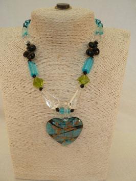 Halskette Glas mit Herz oder Medaillon