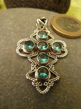 Kettenanhänger Kreuz - Silber & Blautopas
