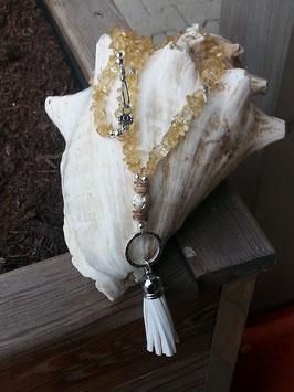 Lange Citrin Perlen Halskette Lemon