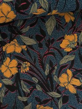 Jersey côtelé floral