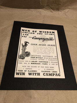 'Men of Wisdom'  Original Card Mounted 1960's A4 Campagnolo Printed Advertisement...