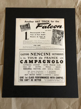 Original 1960s Card Mounted Falcon/Campagnolo Printed Advertisements...