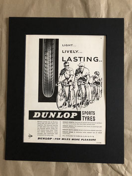 Original 1960s Card Mounted Dunlop Cycle Tyres Advertisement...