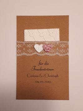 Freudentränen inkl. geprägtem Taschentuch Vintage Kraftpapier Spitze