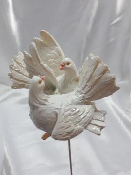 2x Blumenstecker zur Hochzeit Tauben in 2 Designs im Set