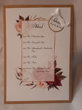 Ablaufplan zur Hochzeit Vintage Din A5