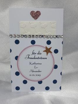 Freudentränen-Tasche inkl. geprägtem Taschentuch mit dunkelblauen Punkten