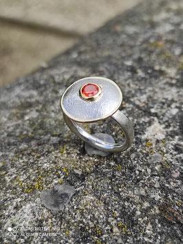 "Ring ""Pilz"" roter Zirkonia (Farbe: Padparadscha)"