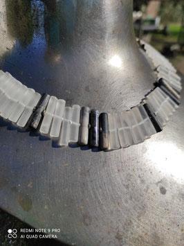 Stäbchenkette Bergkristall/Picasso-Jaspis