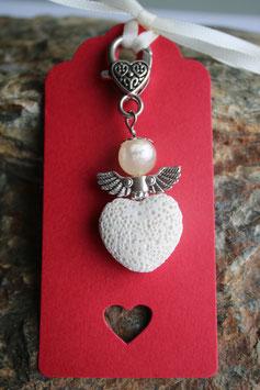 Lava Perlen Geschenkanhänger Creme Heart II (7R)