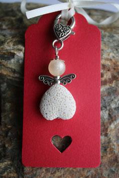Lava Perlen Geschenkanhänger Creme Heart up II (5R)