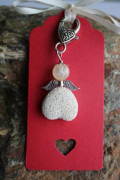 Lava Perlen Geschenkanhänger Creme Heart up (6R)