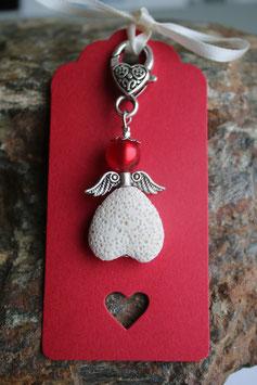 Lava Perlen Engel an Herzkarten - 4-er Set rot