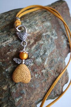 Engel / Schutzengel Anhänger mit Lava Perle saffran (2)
