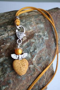 Engel / Schutzengel Anhänger mit Lava Perle saffran (3)