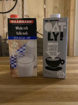 H-Milch oder Hafermilch, 1 Liter