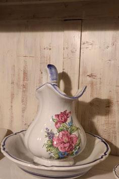 Ensemble de toilette Original kéramic : 1 broc - 1 bassine - 1 porte savon - 1 boîte brosses à dents motifs fleurs