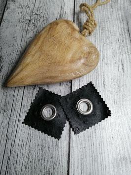 Kunstleder Patches mit 14mm Öse schwarz Struktur