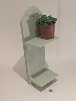 77. Pale Green, chalk painted rustic wooden double shelf.