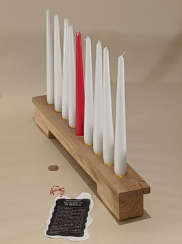 167. Beautiful 'Menorah' 9 candle holder in light wood.