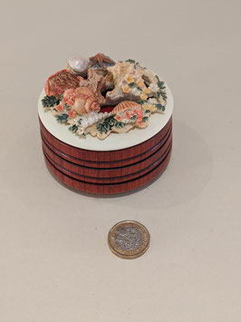 156. Hand-turned wood base with ornamental top pomander.