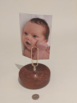 24. Wooden base, hand turned, metal clip Photo holder.