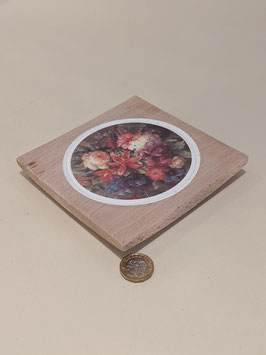 151. Wooden teapot stand/trivet with ceramic insert.