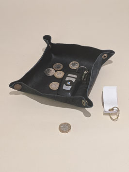 54. Dark brown Leather pop together tray.Ideal for change, jewellery etc.,