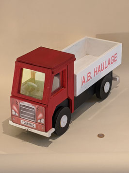 130. Lorry model hand made and painted.