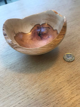 197. Lovely, unique, petite turned bowl in Yew wood.