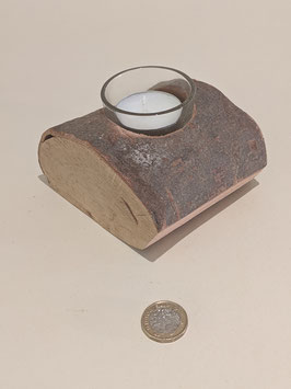 42. Single Yule Log tealight holder.