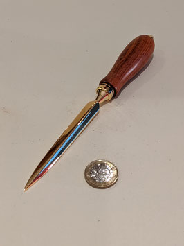 120. Beautiful hand turned wood and gilt letter opener.