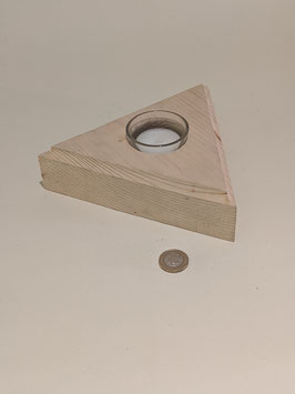 93. Natural wood. Triangular tealight holder.