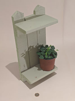 76. Green chalk painted, 'Shabby Chic' rustic wooden double shelf.