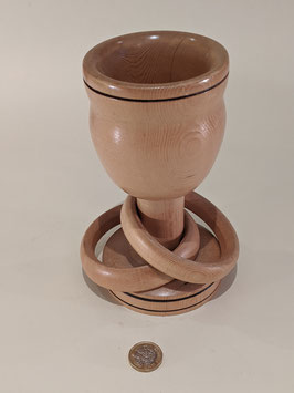 158. Stunning, hand-turned 'Celtic' or 'Irish' Wedding goblet. Light wood.