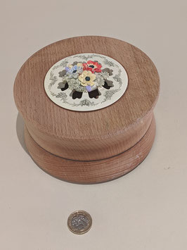 29. Hand-turned wooden pomander with floral ceramic lid.
